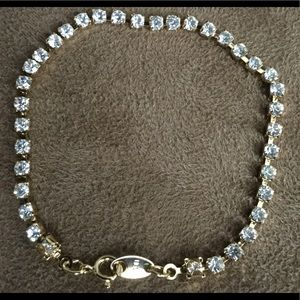 AVON, Gold and Clear Crystal Tennis Bracelet